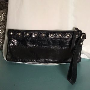 Black stud Kenneth Cole Reaction clutch wristlet
